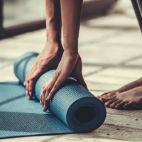 hands on yoga mat