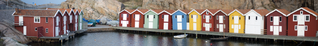 Colorful houses in Swedish archipelago