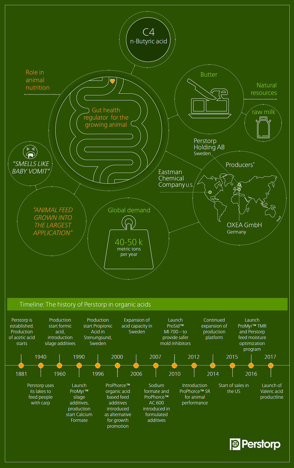 C4 n-Butyric acid infographic