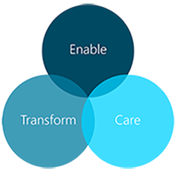 Image of sustainability pillars enable transform and care