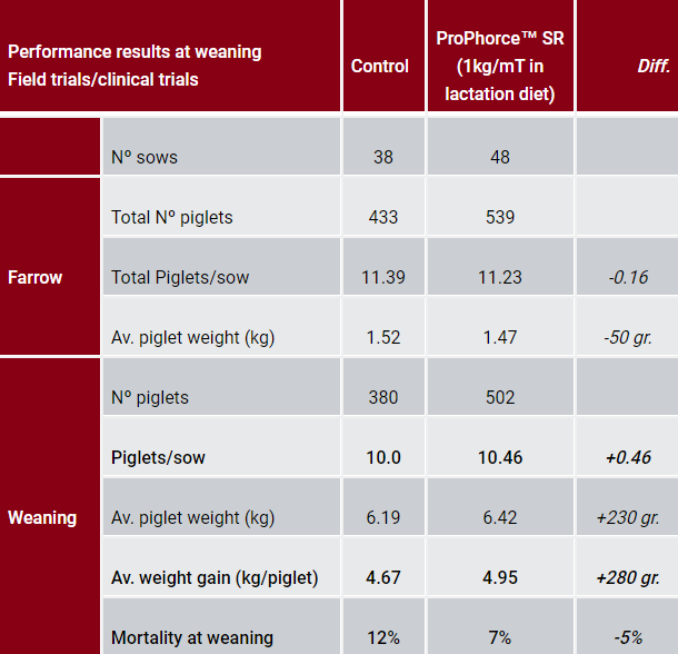 Animal nutrition performance results at weaning