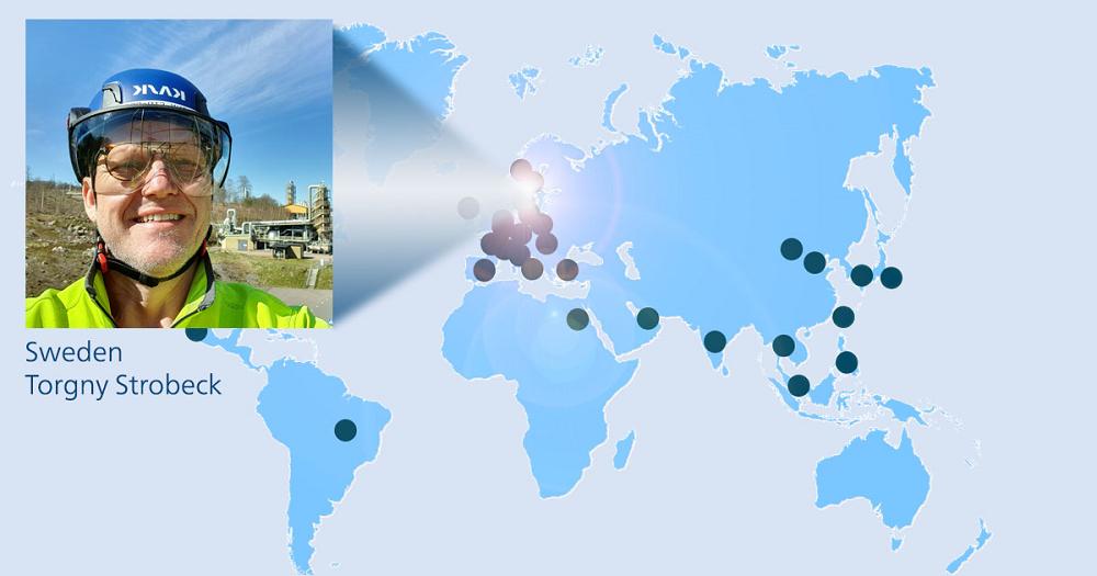 World map with Torgny Strobeck