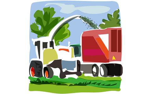 tractor harvesting silage ensilering