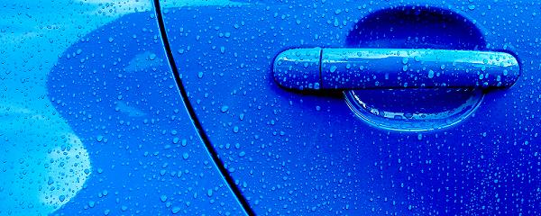 blue coated car door