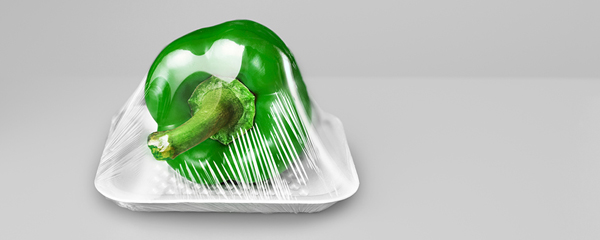 Green pepper wrapped in Bioplastics from Perstorp